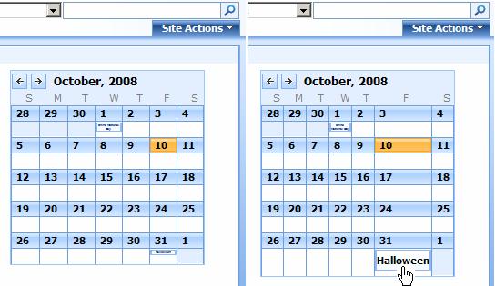 Tiny Calendar.A Tiny Cute Sharepoint Calendar Part Ii Path To Sharepoint